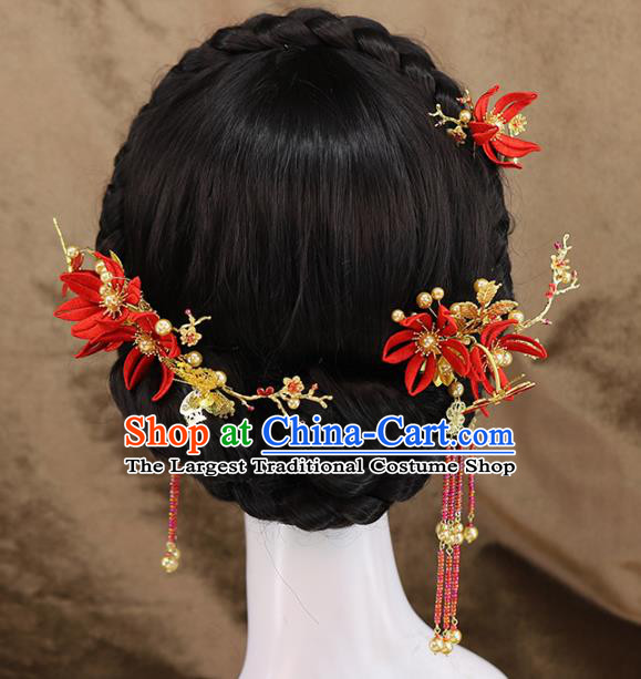 Traditional Chinese Wedding Red Flowers Hair Combs Tassel Hairpins Headdress Ancient Bride Hair Accessories for Women