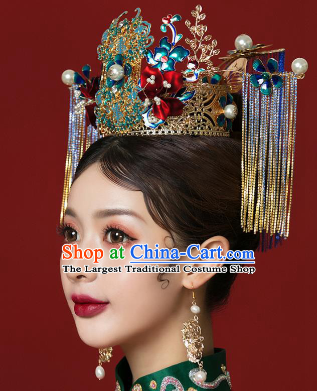 Traditional Chinese Wedding Cloisonne Phoenix Coronet Hairpins Headdress Ancient Bride Hair Accessories for Women