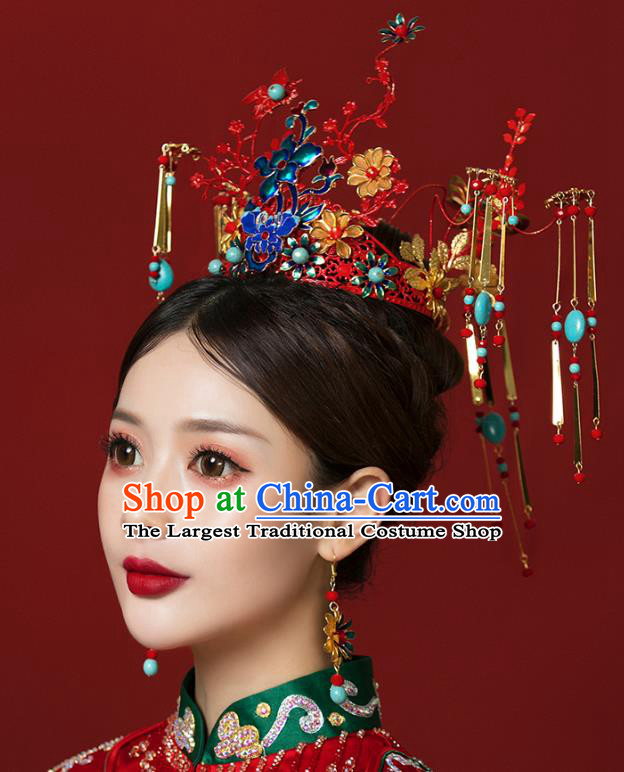 Traditional Chinese Wedding Cloisonne Red Phoenix Coronet Hairpins Headdress Ancient Bride Hair Accessories for Women