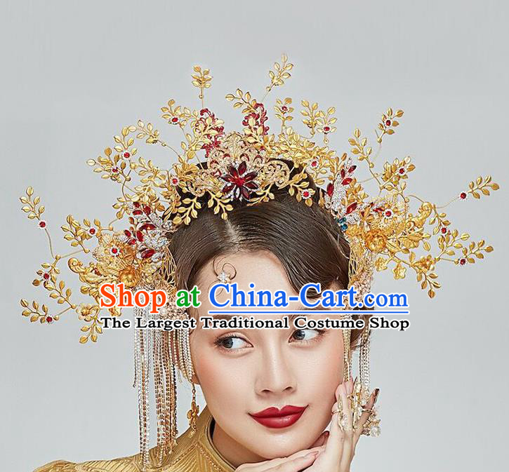 Traditional Chinese Wedding Golden Hair Crown Tassel Hairpins Headdress Ancient Bride Hair Accessories for Women