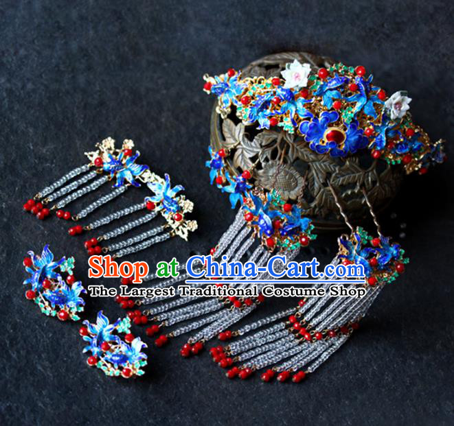 Traditional Chinese Wedding Cloisonne Hair Comb Tassel Hairpins Headdress Ancient Bride Hair Accessories for Women