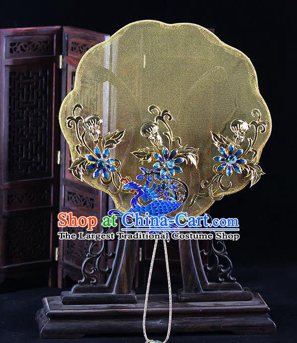 Traditional Chinese Handmade Cloisonne Phoenix Round Fans Ancient Hanfu Wedding Palace Fan for Women