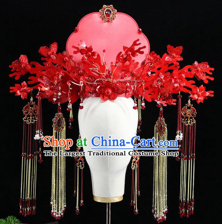 Traditional Chinese Wedding Red Phoenix Coronet Tassel Hairpins Headdress Ancient Bride Hair Accessories for Women