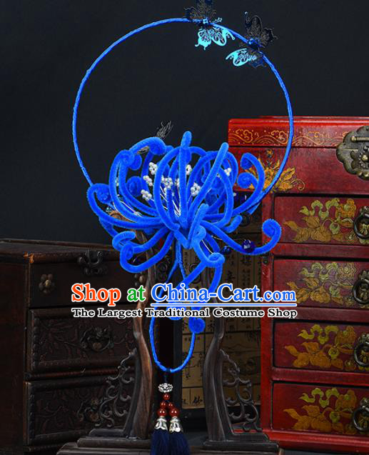 Traditional Chinese Handmade Blue Velvet Chrysanthemum Round Fans Ancient Hanfu Wedding Palace Fan for Women