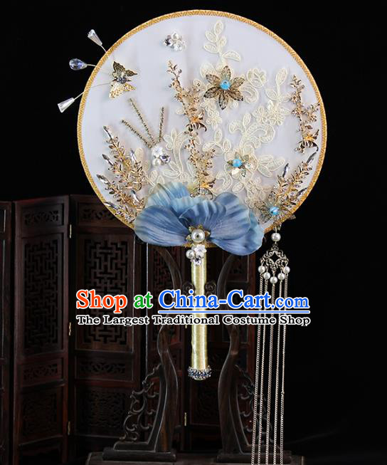 Traditional Chinese Handmade Blue Phalaenopsis Round Fans Ancient Hanfu Wedding Palace Fan for Women