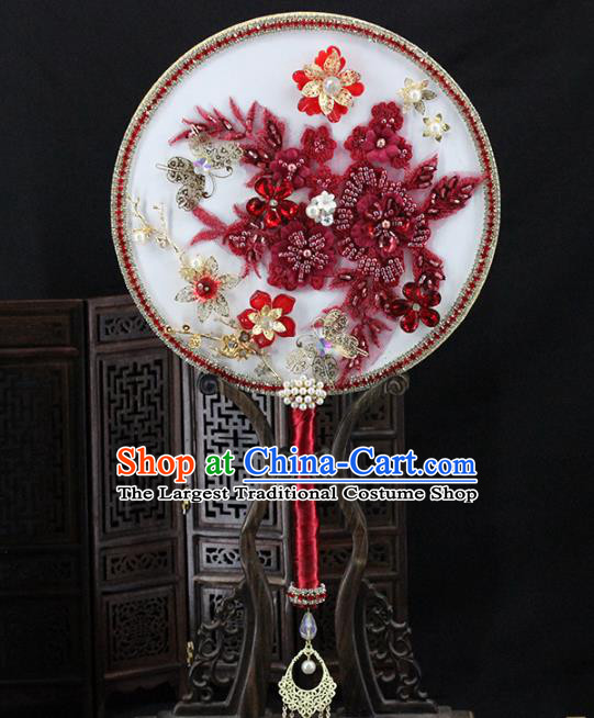 Traditional Chinese Handmade Red Flowers Round Fans Ancient Hanfu Wedding Palace Fan for Women