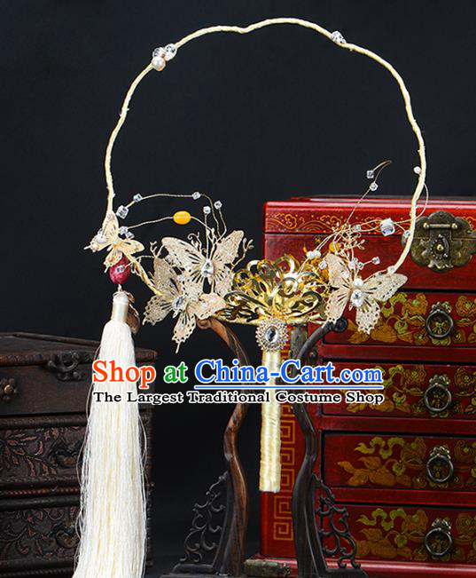 Traditional Chinese Handmade Golden Butterfly Round Fans Ancient Hanfu Wedding Palace Fan for Women