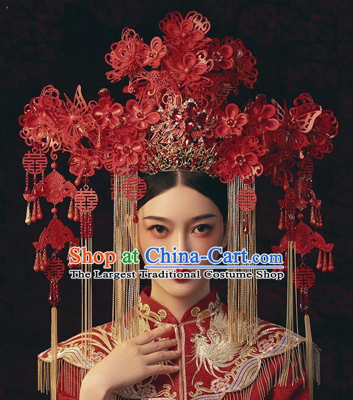 Traditional Chinese Wedding Red Flowers Phoenix Coronet Headdress Ancient Bride Hair Accessories for Women