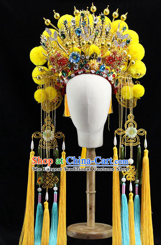 Traditional Chinese Opera Yellow Venonat Phoenix Coronet Headdress Ancient Hair Accessories for Women