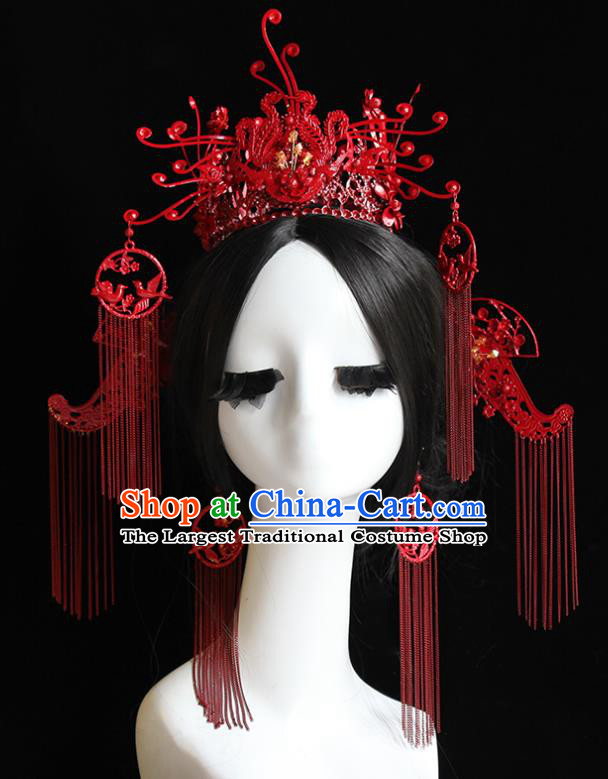 Traditional Chinese Bride Red Tassel Phoenix Coronet Headdress Ancient Wedding Hair Accessories for Women