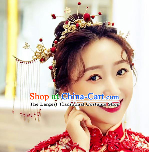 Traditional Chinese Bride Hair Comb Tassel Hairpins Headdress Ancient Wedding Hair Accessories for Women
