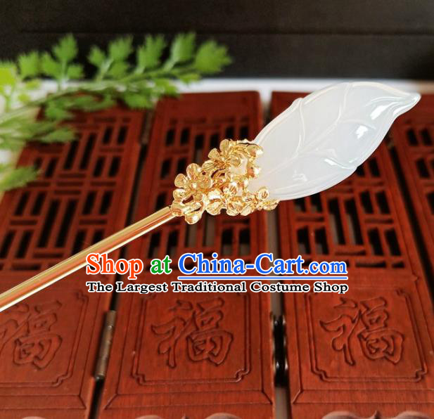 Traditional Chinese Carving Leaf White Jade Hairpin Headdress Ancient Court Hair Accessories for Women