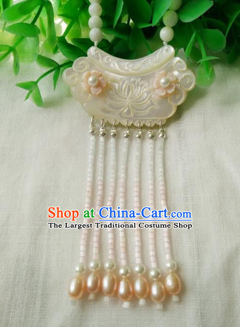 Traditional Chinese Handmade White Shell Necklace Ancient Hanfu Pearls Tassel Necklet Accessories for Women