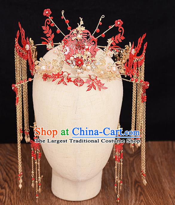 Traditional Chinese Bride Red Phoenix Coronet Headdress Ancient Wedding Hair Accessories for Women