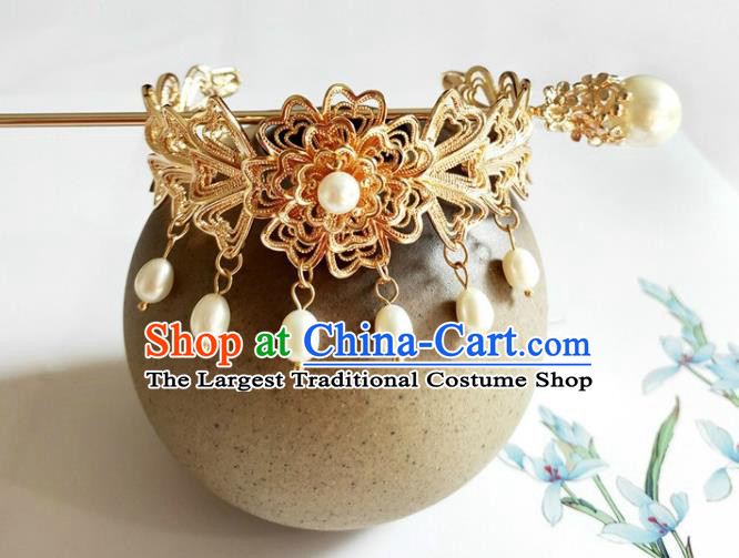 Traditional Chinese Golden Hairdo Crown and Hairpin Headdress Ancient Swordsman Hair Accessories for Women
