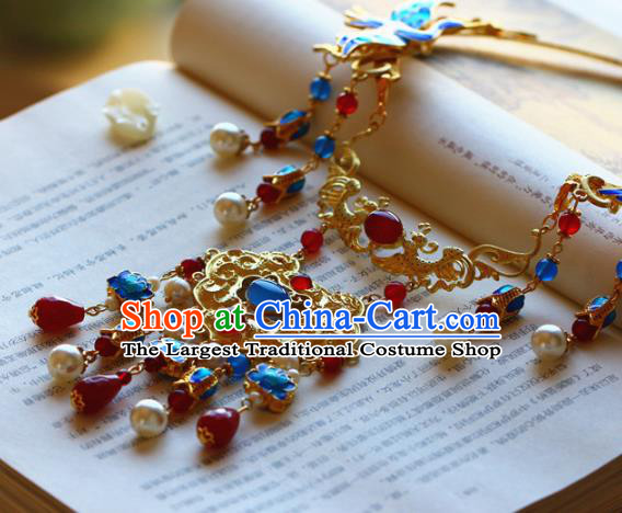 Traditional Chinese Handmade Gems Phoenix Necklace Ancient Hanfu Pearls Necklet Accessories for Women