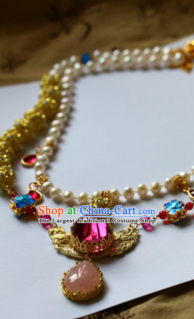Traditional Chinese Handmade Blueing Lotus Necklace Ancient Hanfu Pearls Necklet Accessories for Women