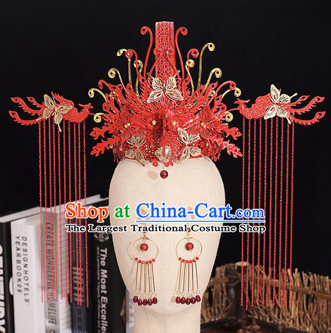 Traditional Chinese Bride Butterfly Red Phoenix Coronet Headdress Ancient Wedding Hair Accessories for Women