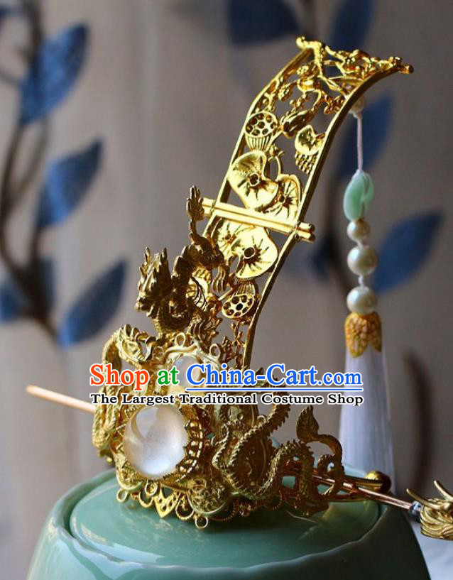 Traditional Chinese Golden Dragons Hairdo Crown and Hairpin Headdress Ancient Swordsman Hair Accessories for Men