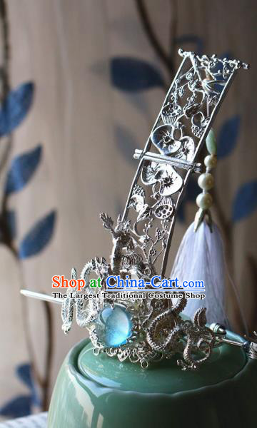 Traditional Chinese Argent Dragons Hairdo Crown and Hairpin Headdress Ancient Swordsman Hair Accessories for Men