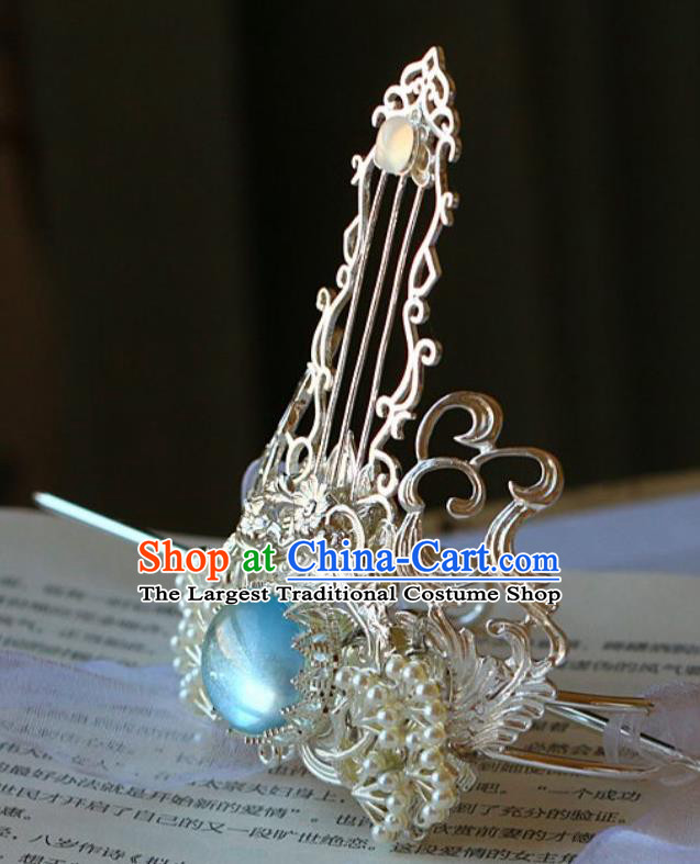 Traditional Chinese Argent Hairdo Crown and Hairpin Headdress Ancient Swordsman Hair Accessories for Men
