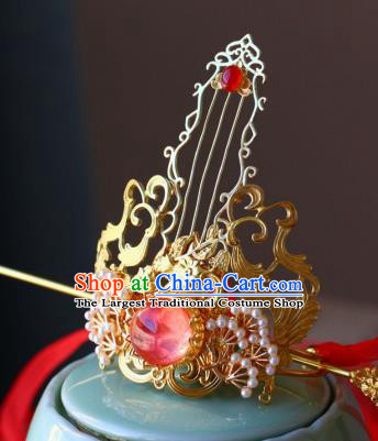 Traditional Chinese Golden Hairdo Crown and Hairpin Headdress Ancient Swordsman Hair Accessories for Men