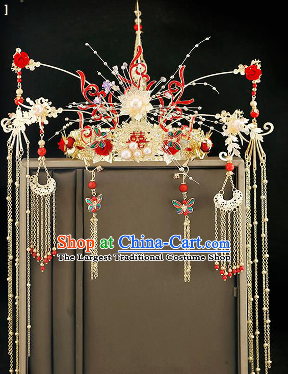 Traditional Chinese Bride Red Rose Phoenix Coronet Headdress Ancient Wedding Hair Accessories for Women