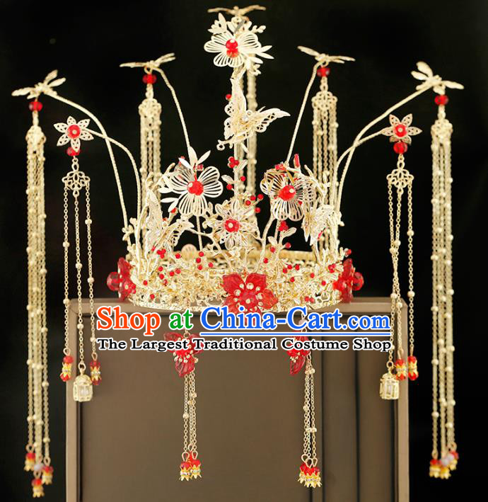 Traditional Chinese Bride Red Plum Blossom Phoenix Coronet Headdress Ancient Wedding Hair Accessories for Women