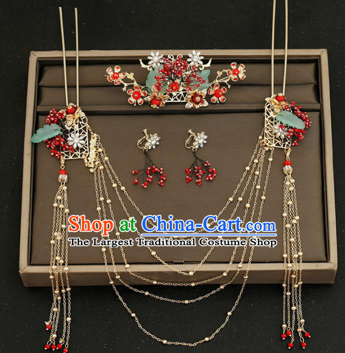 Traditional Chinese Bride Tassel Hairpins Hair Comb Headdress Ancient Wedding Hair Accessories for Women