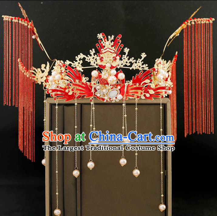 Traditional Chinese Bride Tassel Red Phoenix Coronet Headdress Ancient Wedding Hair Accessories for Women
