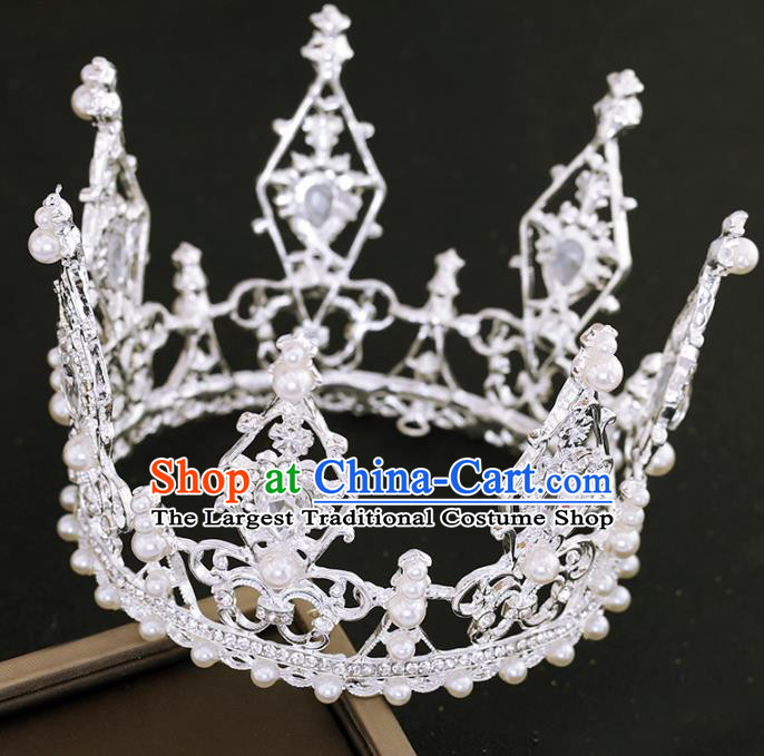 Top Grade Princess Crystal Round Royal Crown Handmade Baroque Bride Hair Accessories for Women