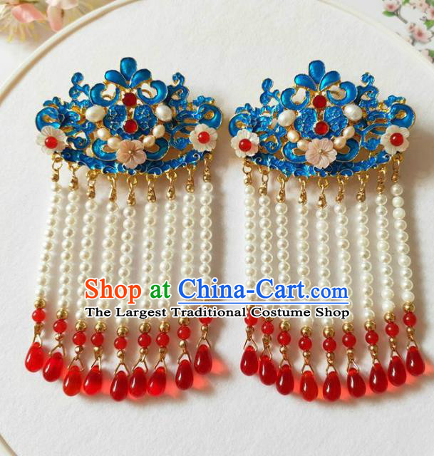 Traditional Chinese Qing Dynasty Tassel Cloisonne Hair Claws Headdress Ancient Court Hair Accessories for Women