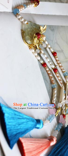 Traditional Chinese Handmade Pearls Tassel Jade Pendant Ancient Hanfu Waist Accessories for Women