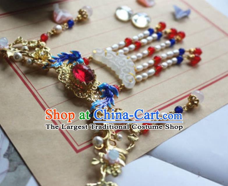 Traditional Chinese Handmade Pearls Tassel Jade Necklace Ancient Hanfu Necklet Accessories for Women