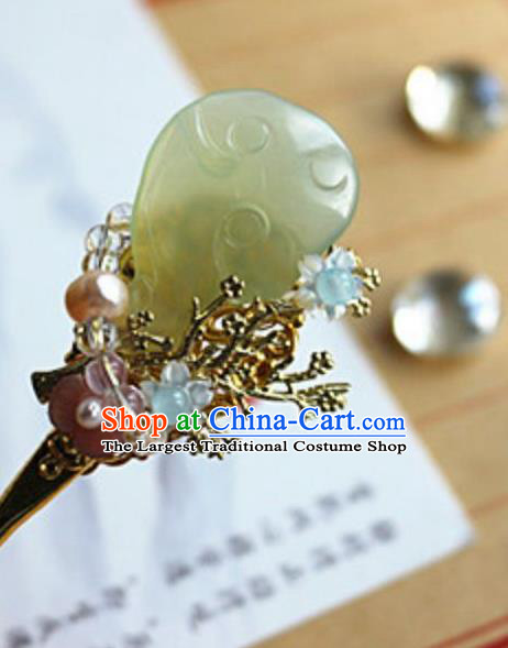 Traditional Chinese Palace Carving Jade Hairpin Headdress Ancient Court Hair Accessories for Women