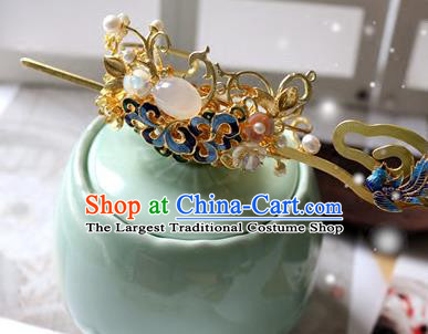 Traditional Chinese Cloisonne Hairdo Crown and Golden Hairpin Headdress Ancient Court Hair Accessories for Women