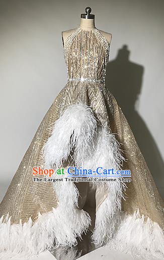 Top Grade Modern Dance Feather Golden Trailing Full Dress Catwalks Compere Costume for Women