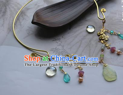Traditional Chinese Handmade Golden Necklace Ancient Hanfu Carving Jade Rabbit Necklet Accessories for Women