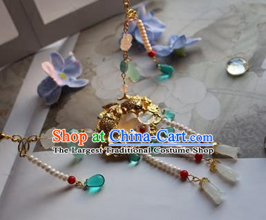 Traditional Chinese Handmade Tassel Golden Necklace Ancient Hanfu Pearls Necklet Accessories for Women