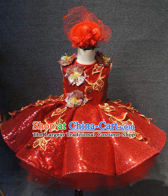 Top Grade Children Day Dance Performance Red Short Dress Catwalks Stage Show Birthday Costume for Kids