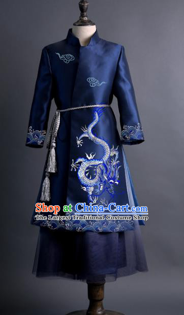 Traditional Chinese Children Classical Dance Embroidered Dragon Navy Tang Suit Compere Stage Performance Costume for Kids