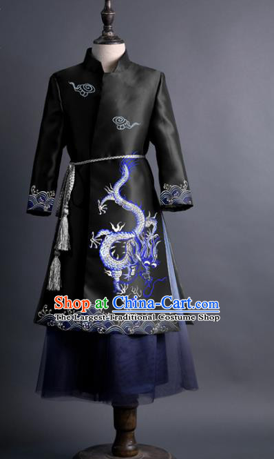 Traditional Chinese Children Classical Dance Embroidered Dragon Black Tang Suit Compere Stage Performance Costume for Kids