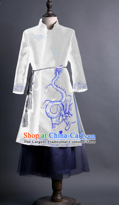 Traditional Chinese Children Classical Dance Embroidered Dragon White Tang Suit Compere Stage Performance Costume for Kids