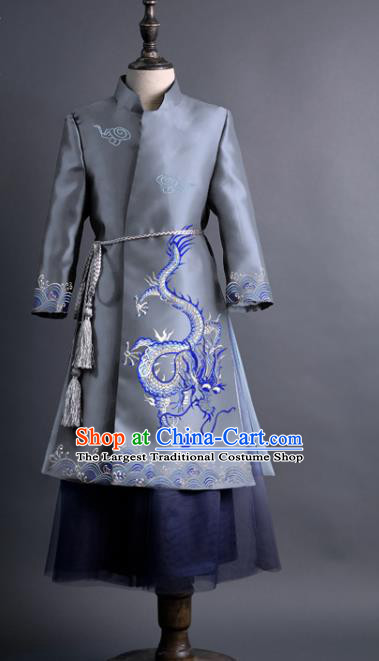 Traditional Chinese Children Classical Dance Embroidered Dragon Grey Tang Suit Compere Stage Performance Costume for Kids
