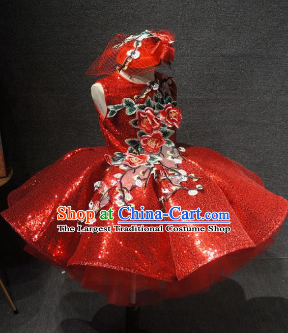 Top Children Day Dance Performance Embroidered Flowers Red Dress Catwalks Stage Show Birthday Costume for Kids
