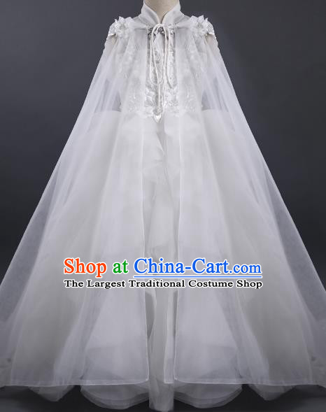 Top Children Fairy Princess White Veil Full Dress Compere Catwalks Stage Show Dance Costume for Kids