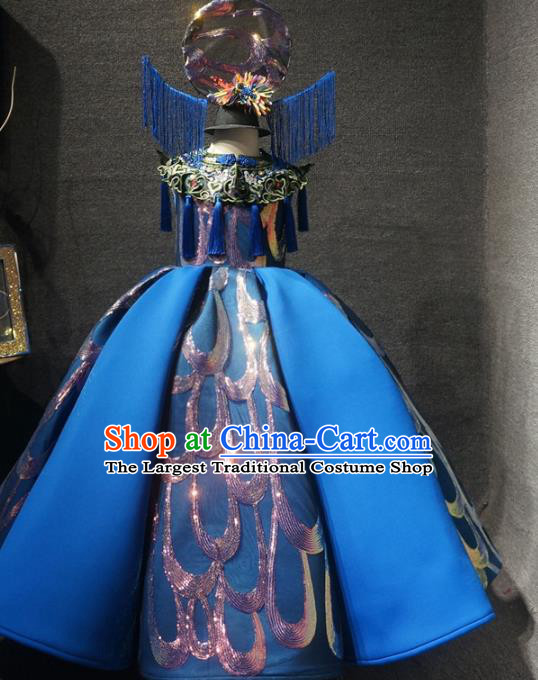 Traditional Chinese Performance New Year Deep Blue Dress Catwalks Compere Stage Show Costume for Kids