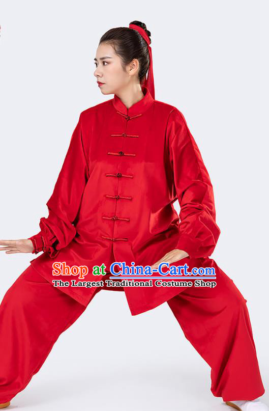 Traditional Chinese Tai Chi Competition Red Velvet Outfits Martial Arts Stage Performance Costumes for Women