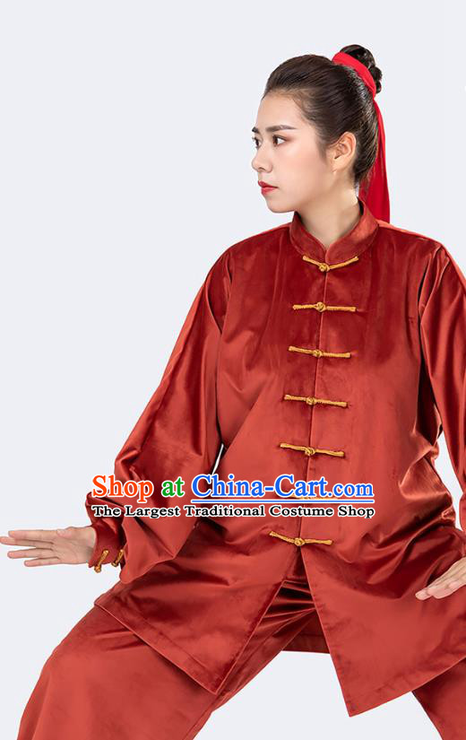 Traditional Chinese Tai Chi Competition Rust Red Velvet Outfits Martial Arts Stage Performance Costumes for Women