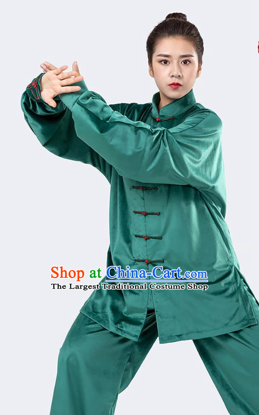 Traditional Chinese Tai Chi Competition Green Velvet Outfits Martial Arts Stage Performance Costumes for Women